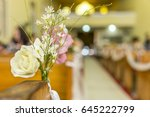 floral decoration on the bench...   Shutterstock . vector #645222799