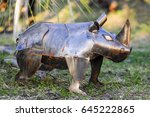 rhino built with metal parts   Shutterstock . vector #645222865