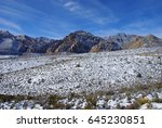 snow in the desert   red rock... | Shutterstock . vector #645230851