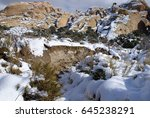 snow in the desert   red rock... | Shutterstock . vector #645238291