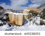 snow in the desert   red rock... | Shutterstock . vector #645238351