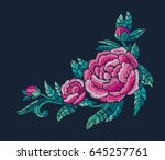 embroidery flower design with... | Shutterstock .eps vector #645257761