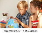 pupils in geography class... | Shutterstock . vector #645260131