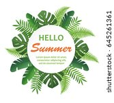trendy summer tropical leaves.... | Shutterstock .eps vector #645261361