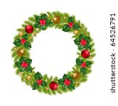 christmas wreath with new year... | Shutterstock . vector #64526791
