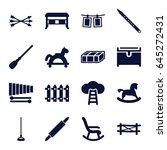 wooden icons set. set of 16... | Shutterstock .eps vector #645272431