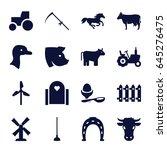 farm icons set. set of 16 farm... | Shutterstock .eps vector #645276475
