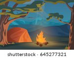 climbing  walking  hiking or... | Shutterstock . vector #645277321