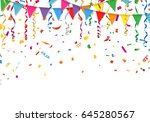 party flags with confetti and... | Shutterstock .eps vector #645280567