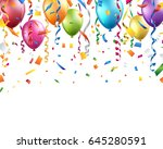 colorful balloons  confetti and ... | Shutterstock .eps vector #645280591