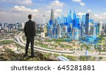 businessman on the hill and... | Shutterstock . vector #645281881