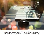 business working space with... | Shutterstock . vector #645281899