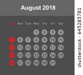 template of calendar for august ... | Shutterstock .eps vector #645285781