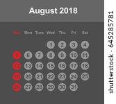 template of calendar for august ... | Shutterstock .eps vector #645285781