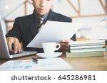 close up businessman working... | Shutterstock . vector #645286981