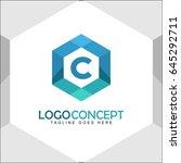 c letter logo icon mosaic... | Shutterstock .eps vector #645292711