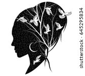 silhouette of a female head... | Shutterstock .eps vector #645295834