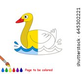 yellow farm duck  the coloring... | Shutterstock .eps vector #645302221