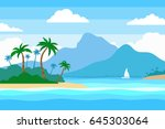 tropical island in the ocean... | Shutterstock .eps vector #645303064