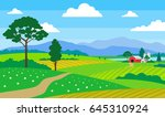 beautiful summer landscape with ... | Shutterstock .eps vector #645310924