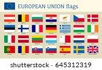 european union big set flags ...   Shutterstock .eps vector #645312319