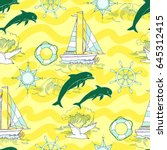 nautical seamless pattern with... | Shutterstock .eps vector #645312415