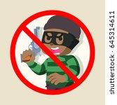 no african thief holding gun | Shutterstock . vector #645314611