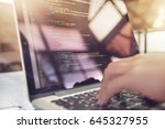 closeup coding on screen  woman ... | Shutterstock . vector #645327955