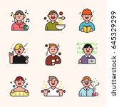people in various situations... | Shutterstock .eps vector #645329299