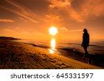 Woman On Sunset Beach. Walk...