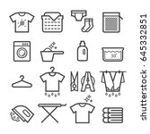 laundry thin line icons | Shutterstock .eps vector #645332851