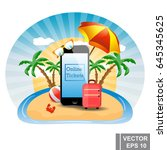 travels. online air tickets.... | Shutterstock .eps vector #645345625