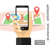 map. navigation. sign. way.... | Shutterstock .eps vector #645345649