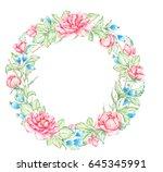 watercolors flower wreath.... | Shutterstock . vector #645345991