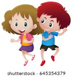 boy and girl dancing ... | Shutterstock .eps vector #645354379