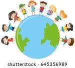 happy children standing on... | Shutterstock .eps vector #645356989