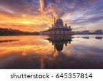 putra mosque during sunrise... | Shutterstock . vector #645357814