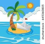 paper boat on island... | Shutterstock .eps vector #645360805