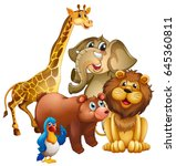 many wild animals in the zoo... | Shutterstock .eps vector #645360811