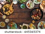 frame of grilled steak  grilled ... | Shutterstock . vector #645365374