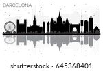 barcelona city skyline black... | Shutterstock . vector #645368401