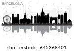 barcelona city skyline black