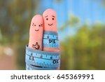 fingers art of a happy couple... | Shutterstock . vector #645369991