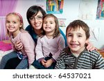 happy children with their mother | Shutterstock . vector #64537021
