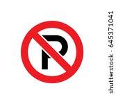 vector no parking sign | Shutterstock .eps vector #645371041