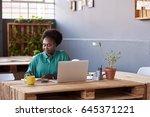 young african businesswoman...   Shutterstock . vector #645371221