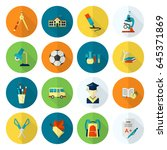 school and education icon set.... | Shutterstock . vector #645371869