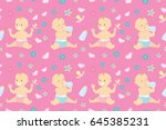 seamless pattern with cute... | Shutterstock .eps vector #645385231