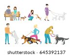 Stock vector dog walking set 645392137
