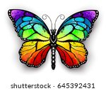 Stock vector realistic monarch butterfly in all the colors of the rainbow on a white background rainbow 645392431